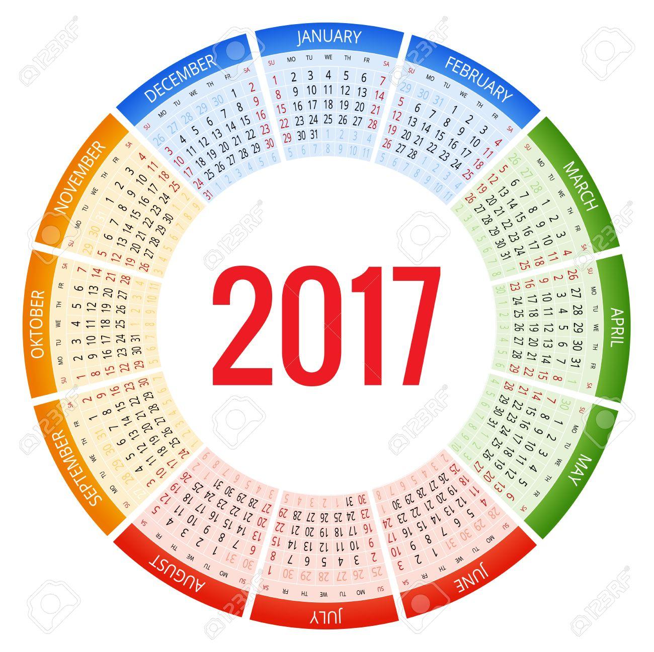 Plantilla Calendario Planificador Anual Wall En 2017 Año. Diseño Del ...