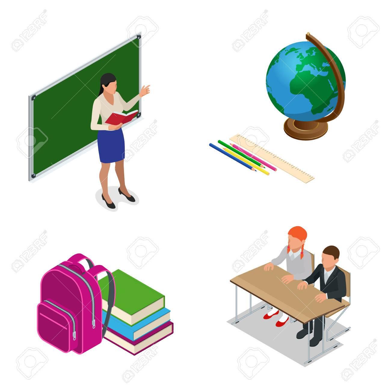 Sometric Schulstunde. Kleine Schüler Und Lehrer. Isometrischen ...
