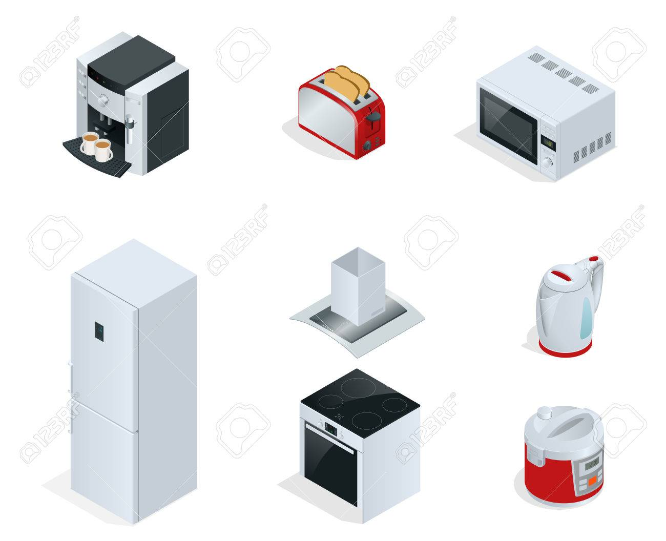 Isometric Home appliances. Set of household kitchen technics Coffee maker, toaster, microwave, kettle, multivarka, fridge, induction hob, extractor isolated on white. Vector - 63020360