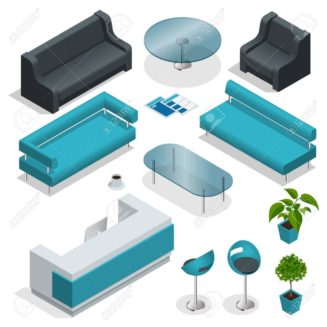 isometric office furniture vector collection. VIP Office Furniture Collection With Tables, Chairs, Plants. Isometric Icon Set Vector Graphic