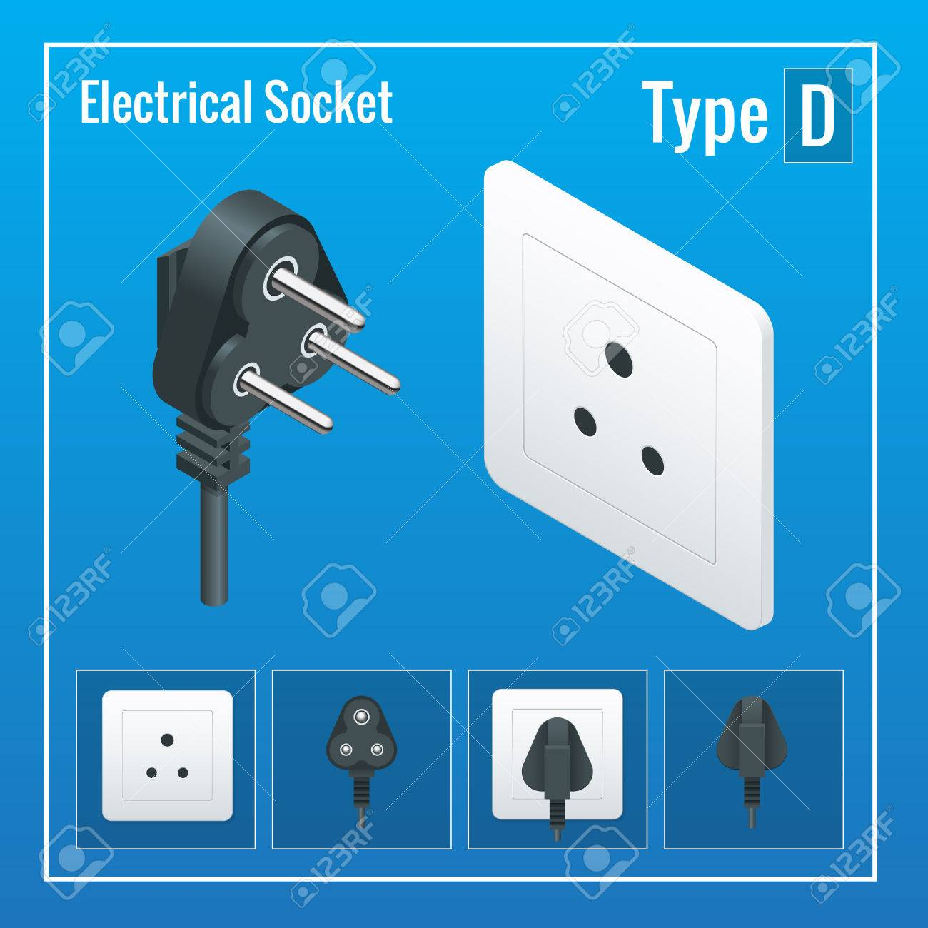 Isometric Switches And Sockets Set. Type D. AC Power Sockets ...