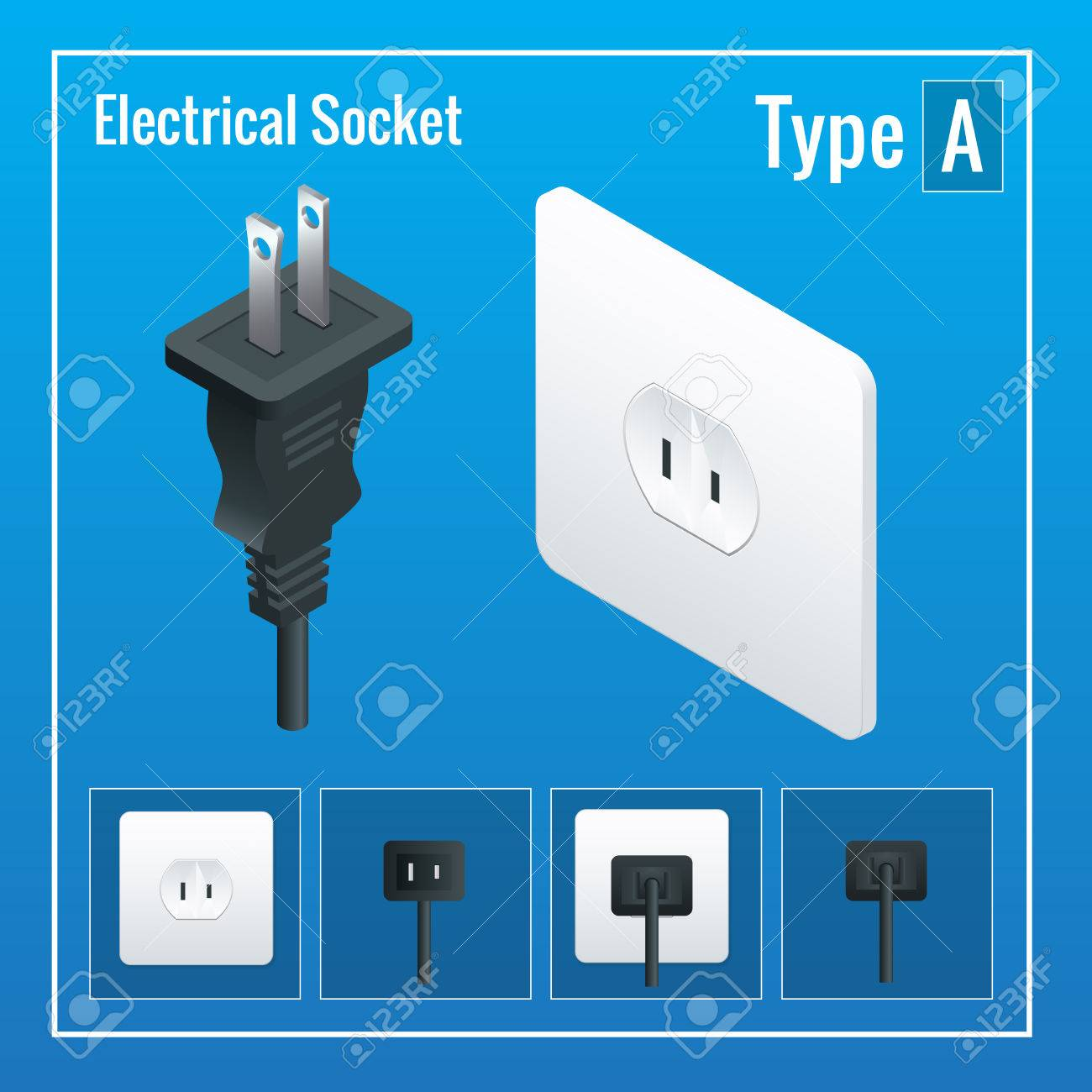 Isometric Switches And Sockets Set. Type A. AC Power Sockets ...