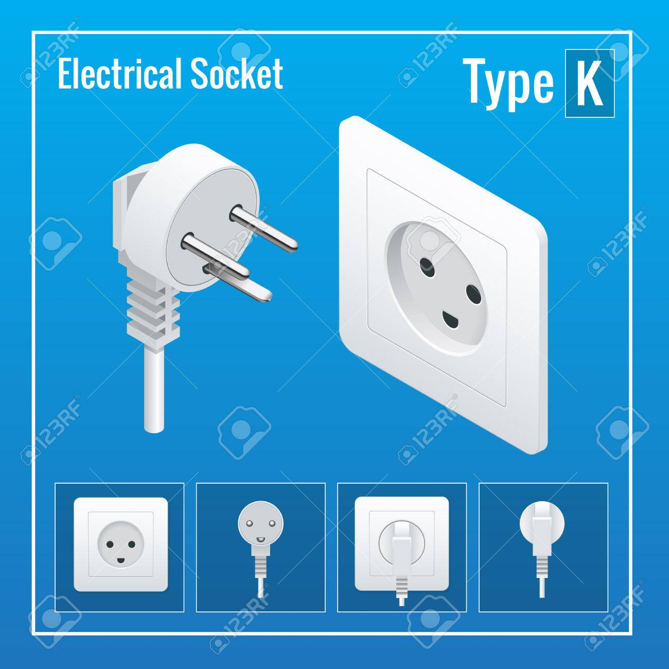 Isometric Switches And Sockets Set. Type K. AC Power Sockets ...
