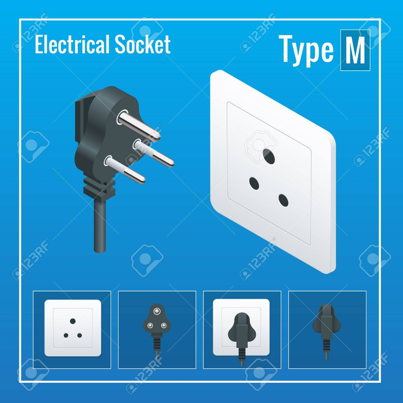 Isometric Switches And Sockets Set. Type M. AC Power Sockets ...