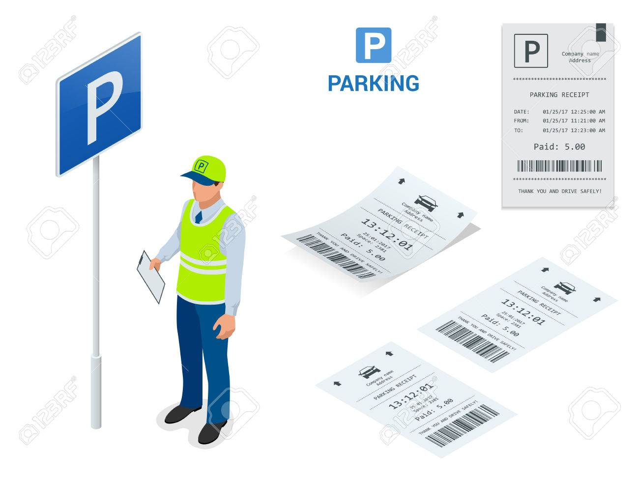 Isometric Parking Attendant  Parking ticket machines and barrier