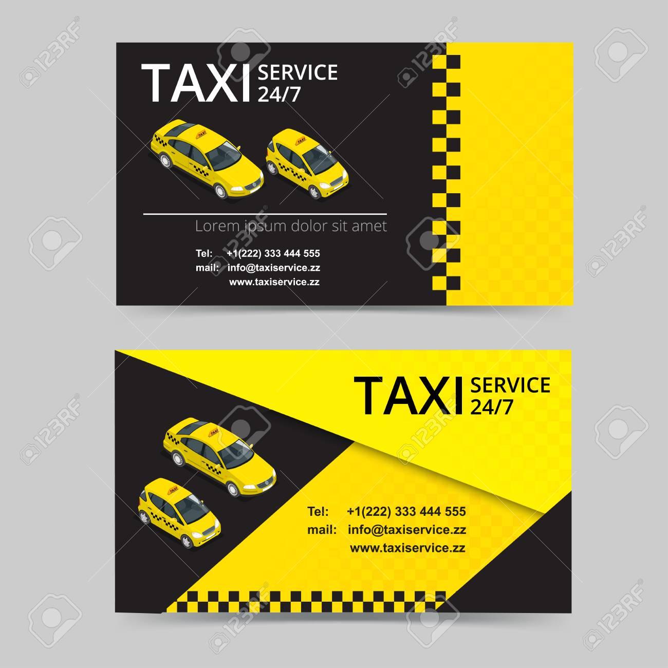 Carte De Taxi Pour Les Chauffeurs Service Modele Visite Vecteur Societe Marque Image Identite Logo
