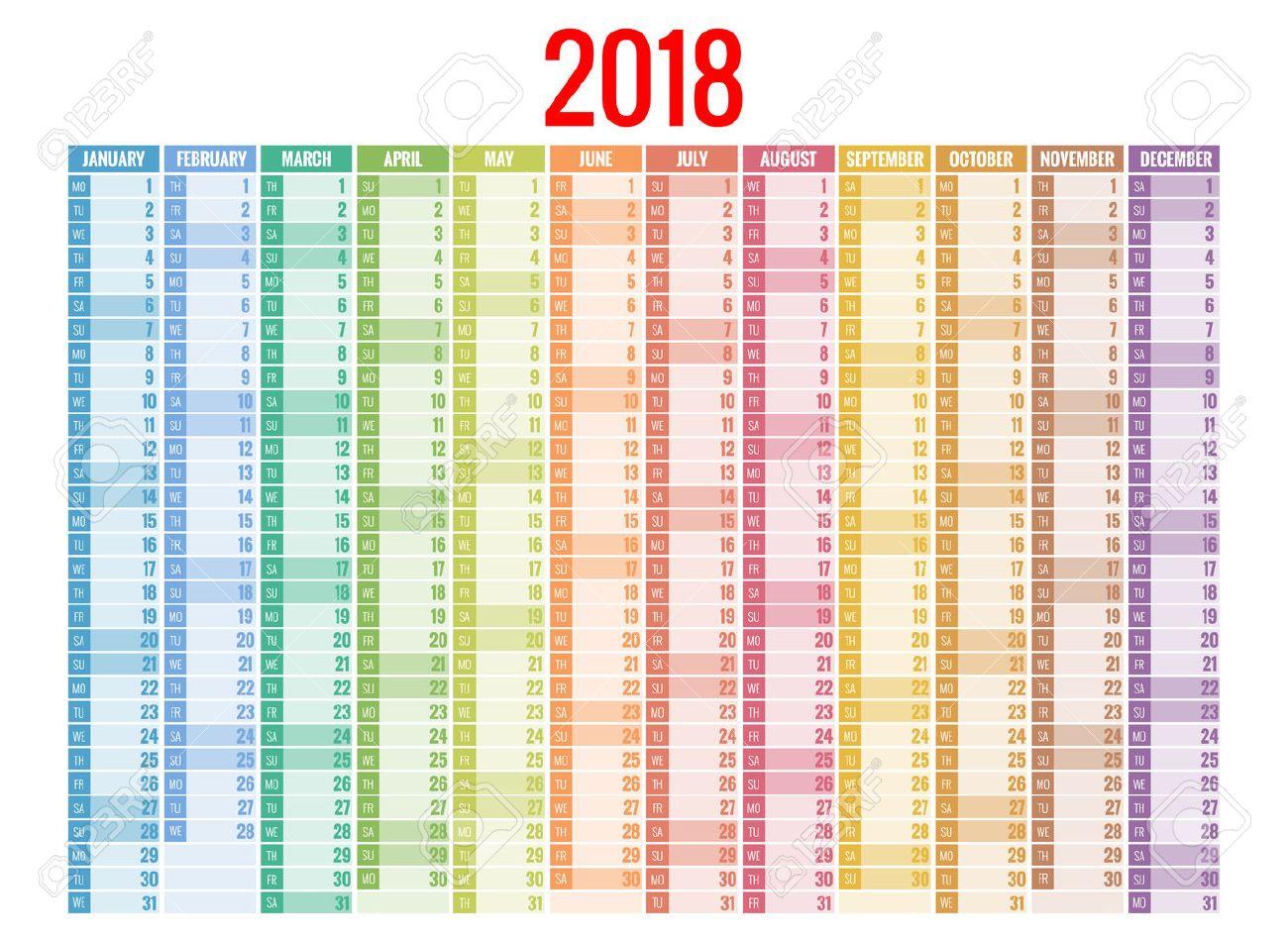 2018 Kalender. Vorlage Drucken. Woche Startet Sonntag. Hochformat ...