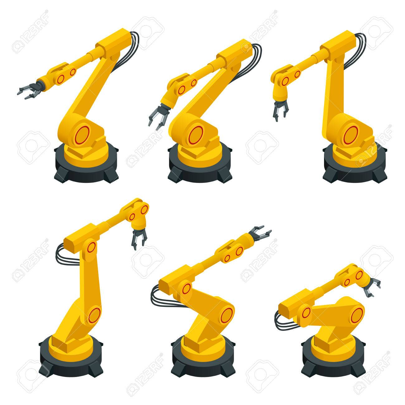 Isometric robotic arm, hand, industrial robot flat vector icons