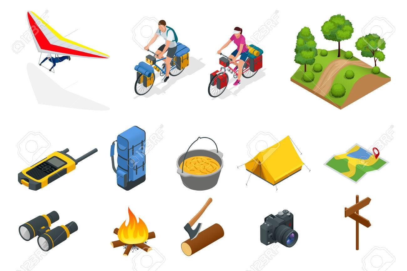 4cd2457c3 Foto de archivo - Isométrico ala delta, ciclistas en bicicleta con bolsa de viaje  para viajar, Equipo de camping aislado en blanco Colección de vectores.