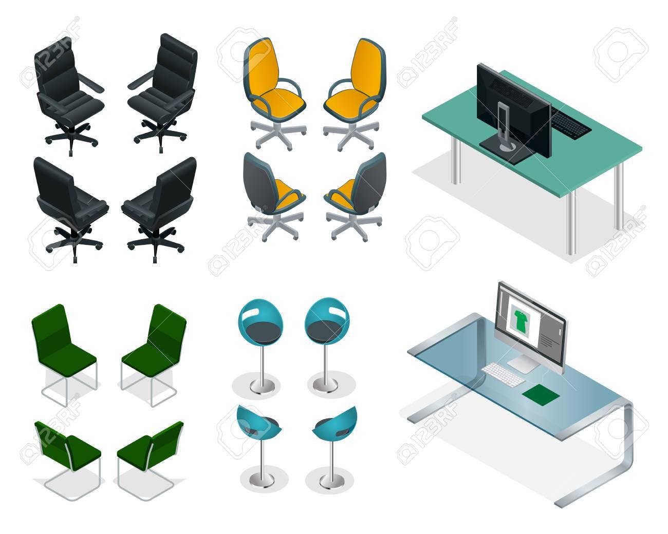 Conjunto isométrico de sillas y mesas de oficina. Easy VIP Muebles de  oficina.
