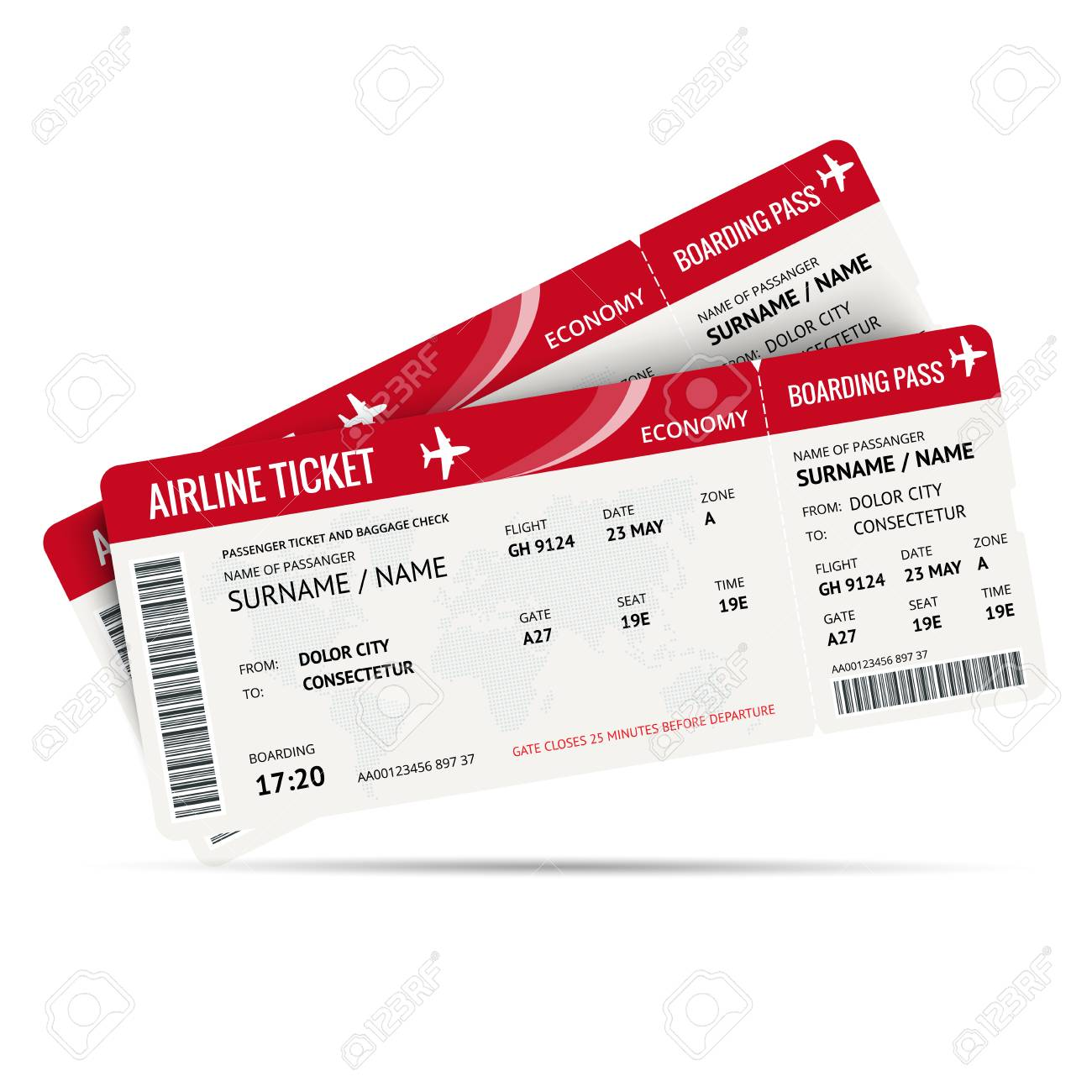 Airline Ticket Or Boarding Pass For Traveling By Plane Isolated.. Royalty  Free Cliparts, Vectors, And Stock Illustration. Image 78340614.