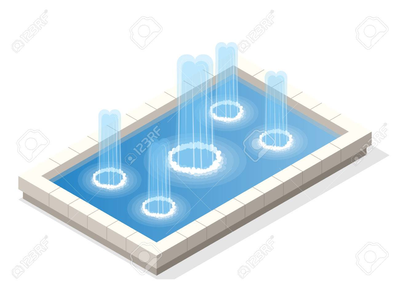 isometric fountain water spout spray in basin isolated on white background   stock vector - 78441116