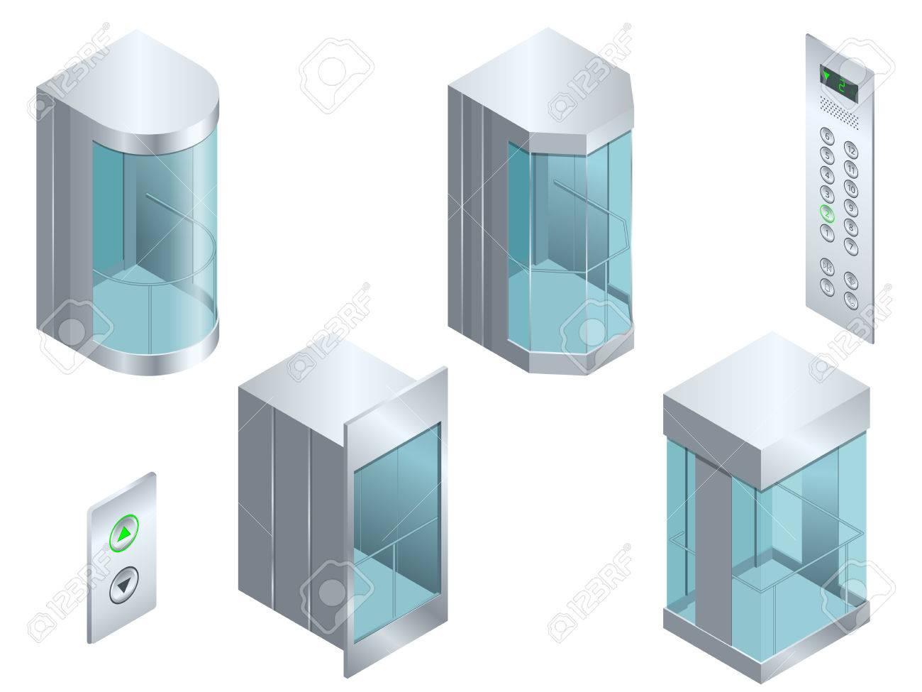 Isometrische Vektor Glas Futuristisch Zylindrischen Form Aufzug Oder ...