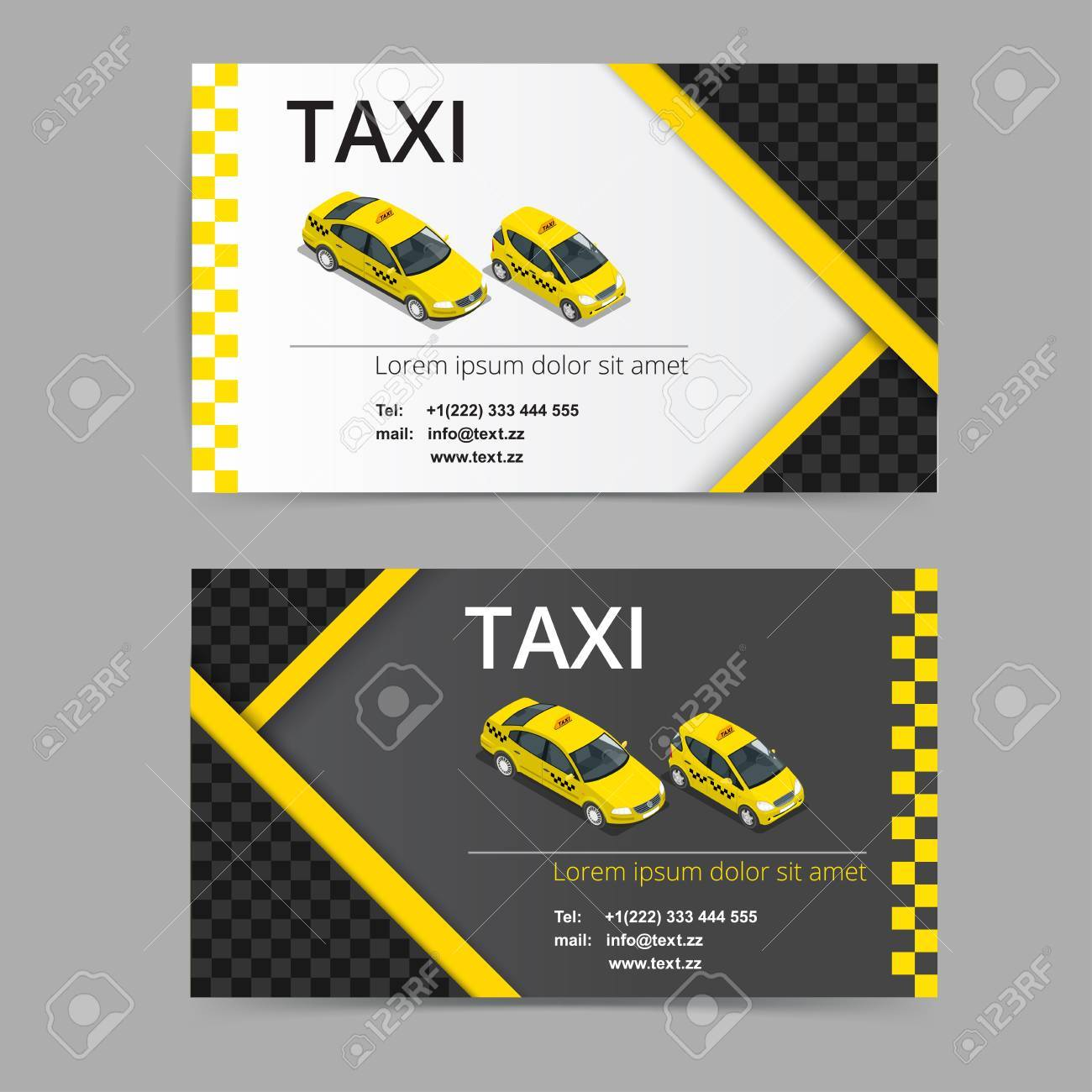 Business Card Design In Black White And Yellow Colors Vector Template For Taxi Company