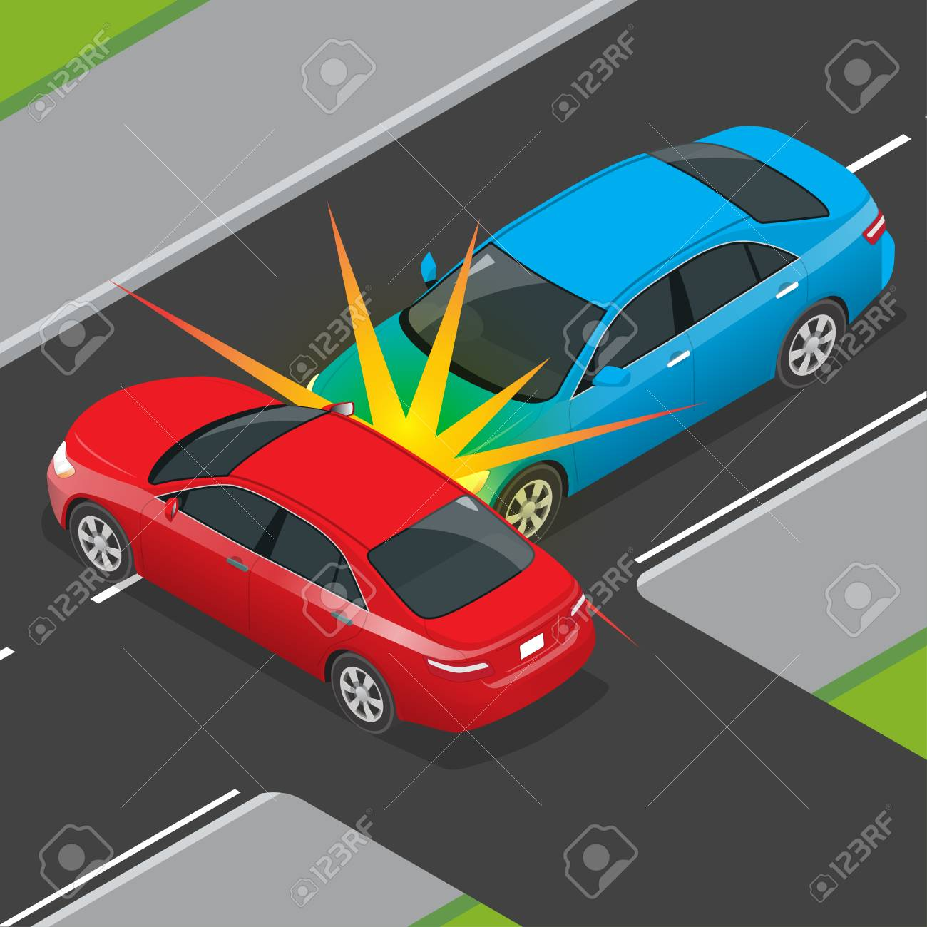 Isometric Traffic Accident Involving Two Vehicles On The Road ...