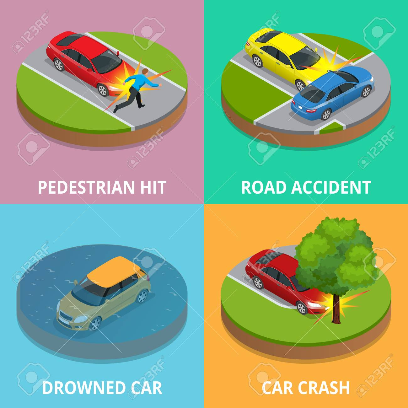 Isometric Pedestrian Hit, Road Accident, Drowned Car And Car ...