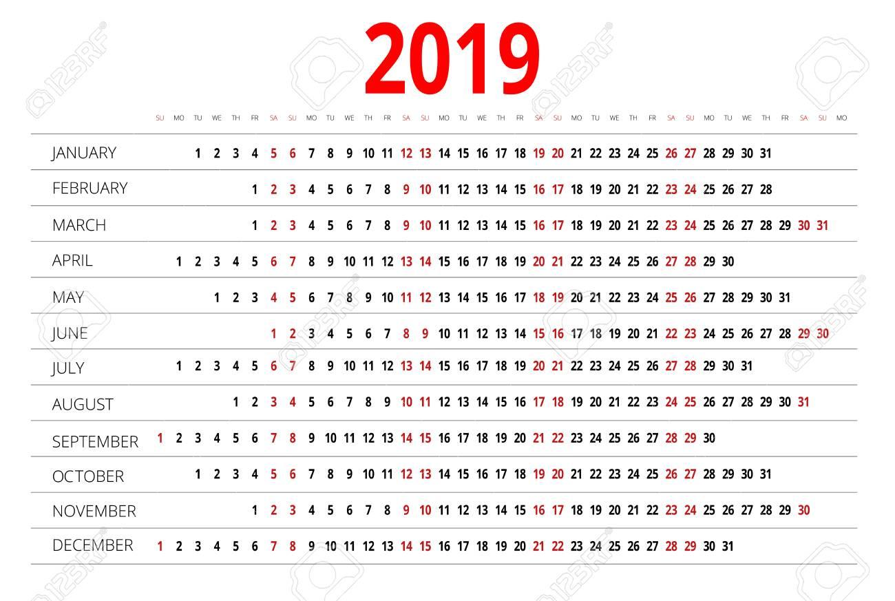 Imprimir Calendario 2020 Por Meses.Calendario 2019 Imprimir Plantilla La Semana Comienza El Domingo Orientacion Vertical Conjunto De 12 Meses Planificador Para El Ano 2019