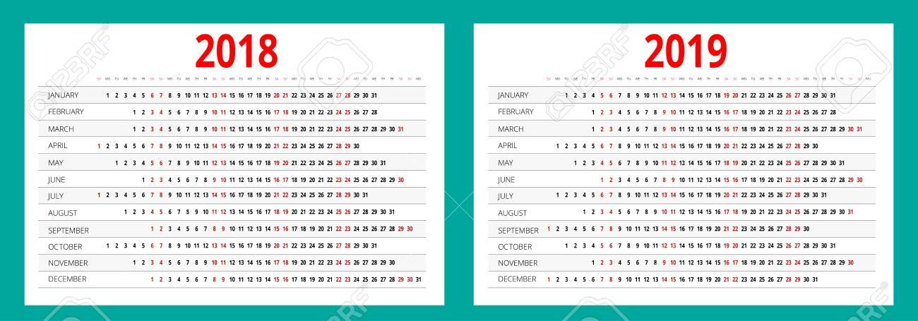 2018 And 2019 Calendar Print Template Portrait Orientation