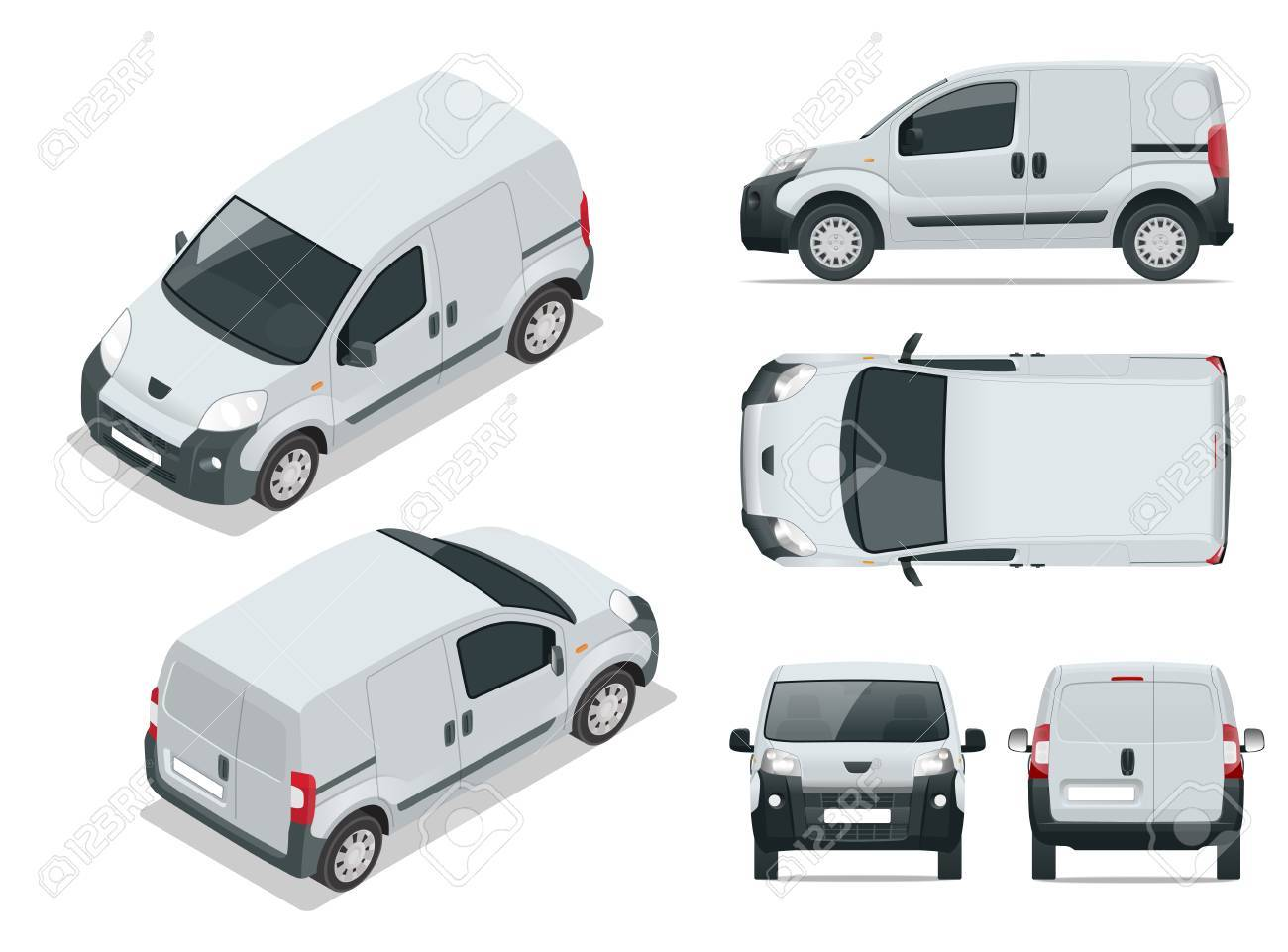 Small Van Car  Isolated car, template for car branding and advertising