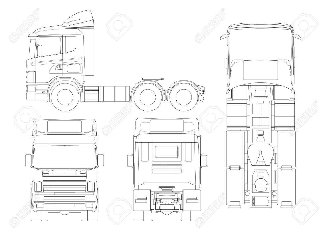Camión Tractor O Semirremolque En Resumen Combinación De Una Unidad ...
