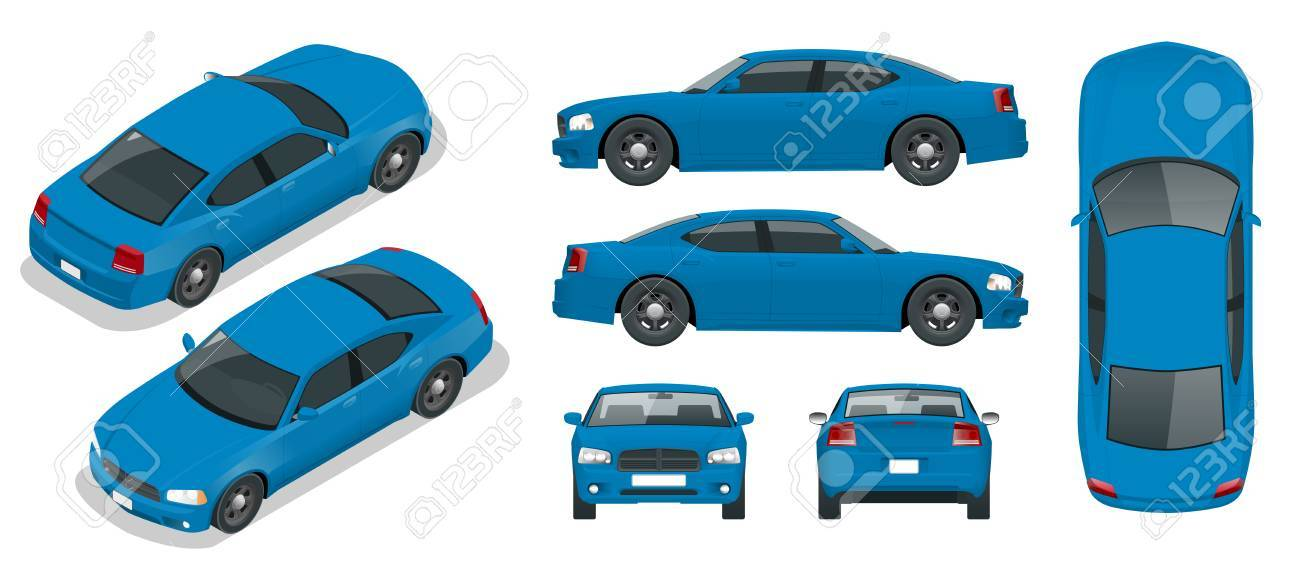 Set Of Sedan Cars. Isolated Car, Template For Branding And ...