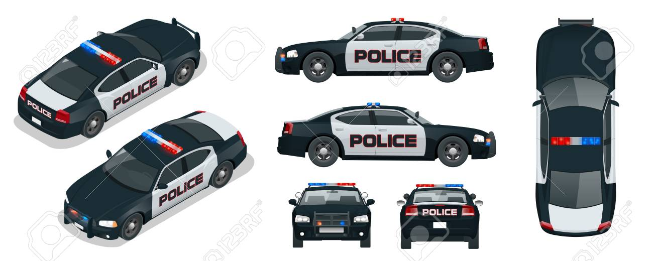 vector police car with rooftop flashing lights a siren and emblems