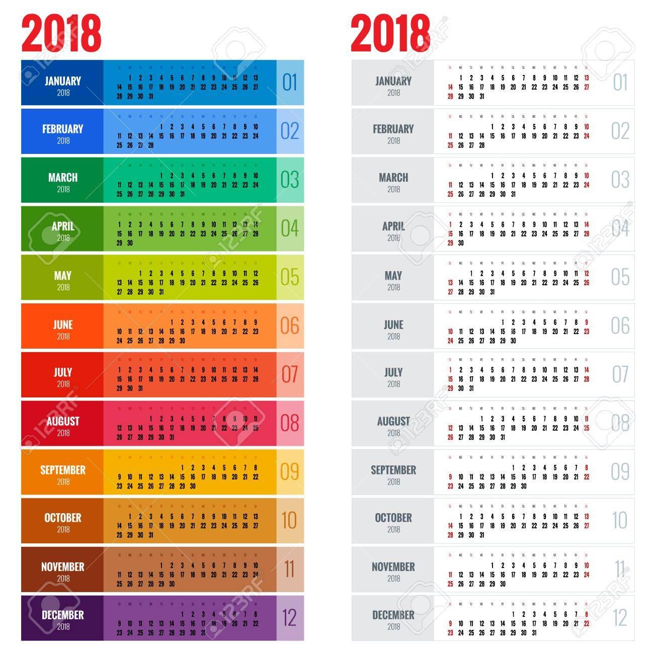 Jahreskalender Planer Vorlage Für 2018 Jahr. Lizenzfrei Nutzbare ...