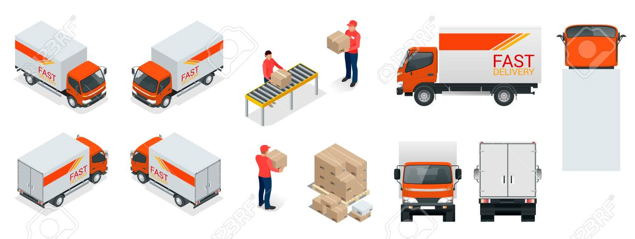 Cargo truck transportation, delivery man, boxes. Fast delivery or logistic transport. Template vector isolated on white view. - 88275997