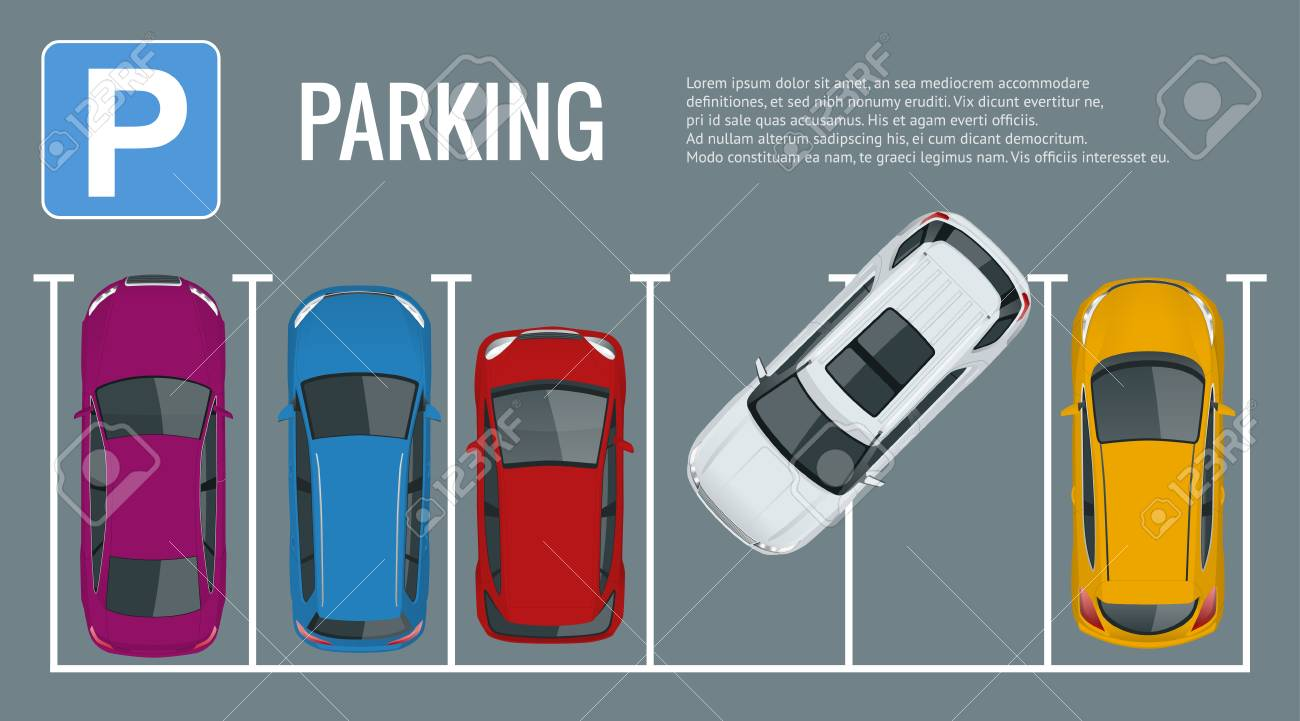 Vector illustration city parking lot with a set of different cars. Public car-park. Flat illustration for web. Urban transport. Large number of cars in a crowded parking. - 88479242
