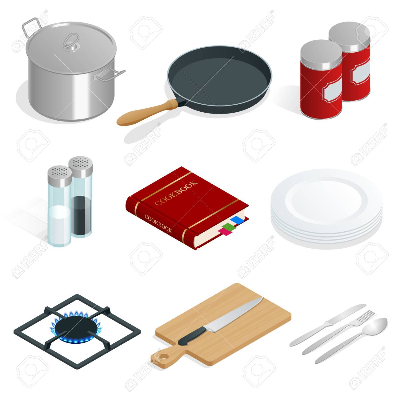 Isometric vector set of professional kitchenware and utensils on white background. - 88774409