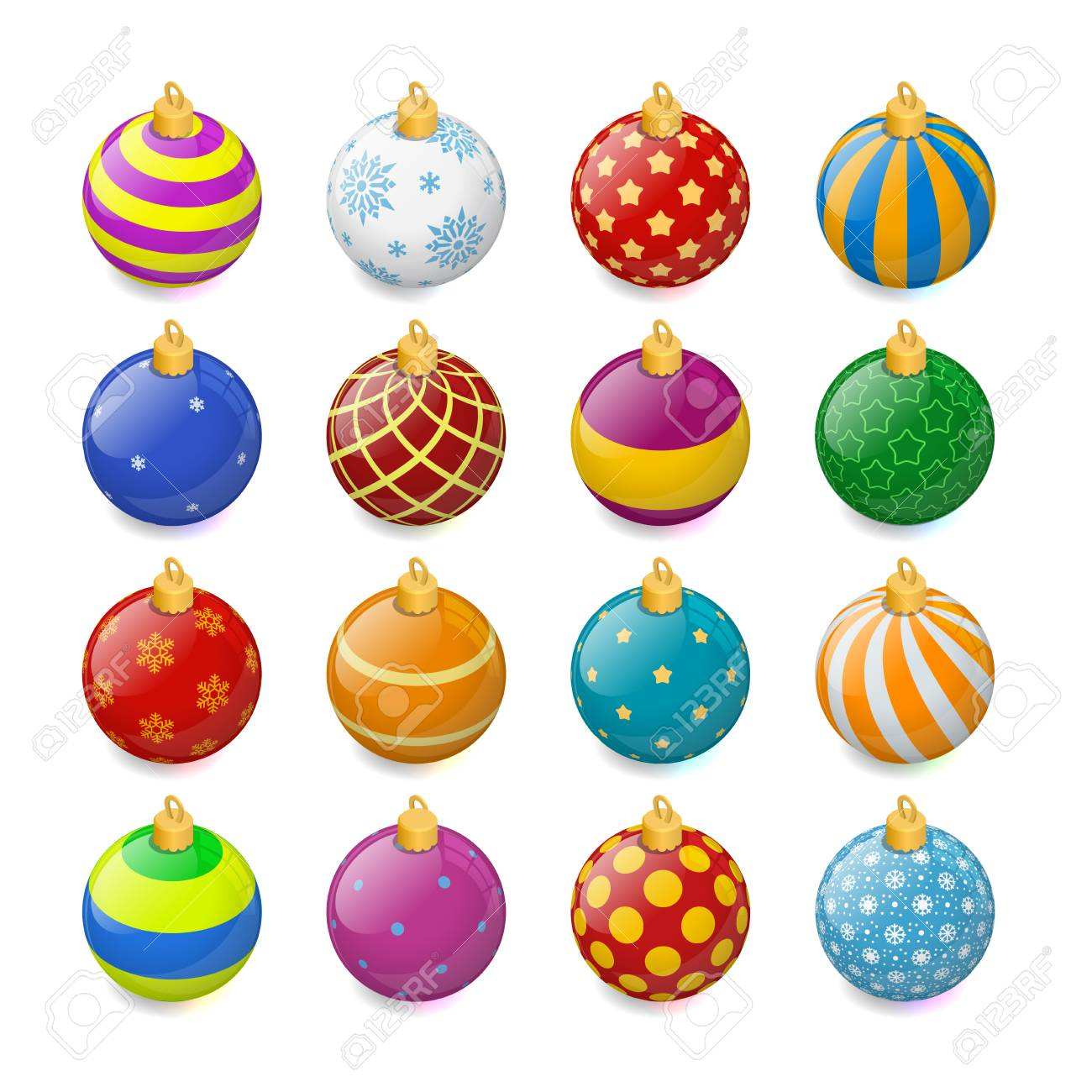 Set Of Isometric Color Christmas Balls On A Transparent Background Stocking Decorations