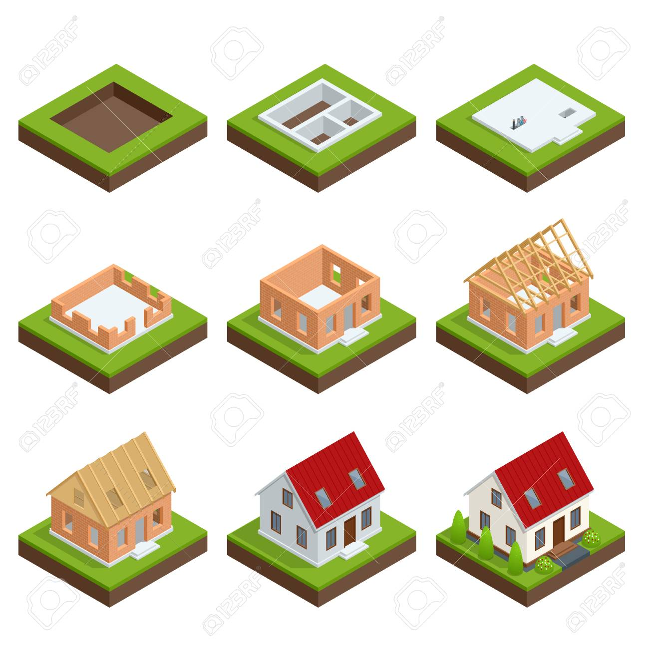Isometric Set Stage By Stage Construction Of A Brick House. House Building  Process