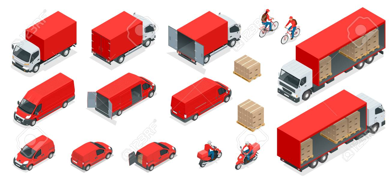 Isometric Logistics icons set of different transportation distribution vehicles, delivery elements. Cargo transport isolated on white background. - 92630438