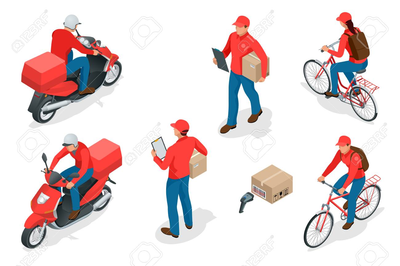 Isometric delivery service or courier service concept. Delivery Workers or courier vector illustration. - 92685969
