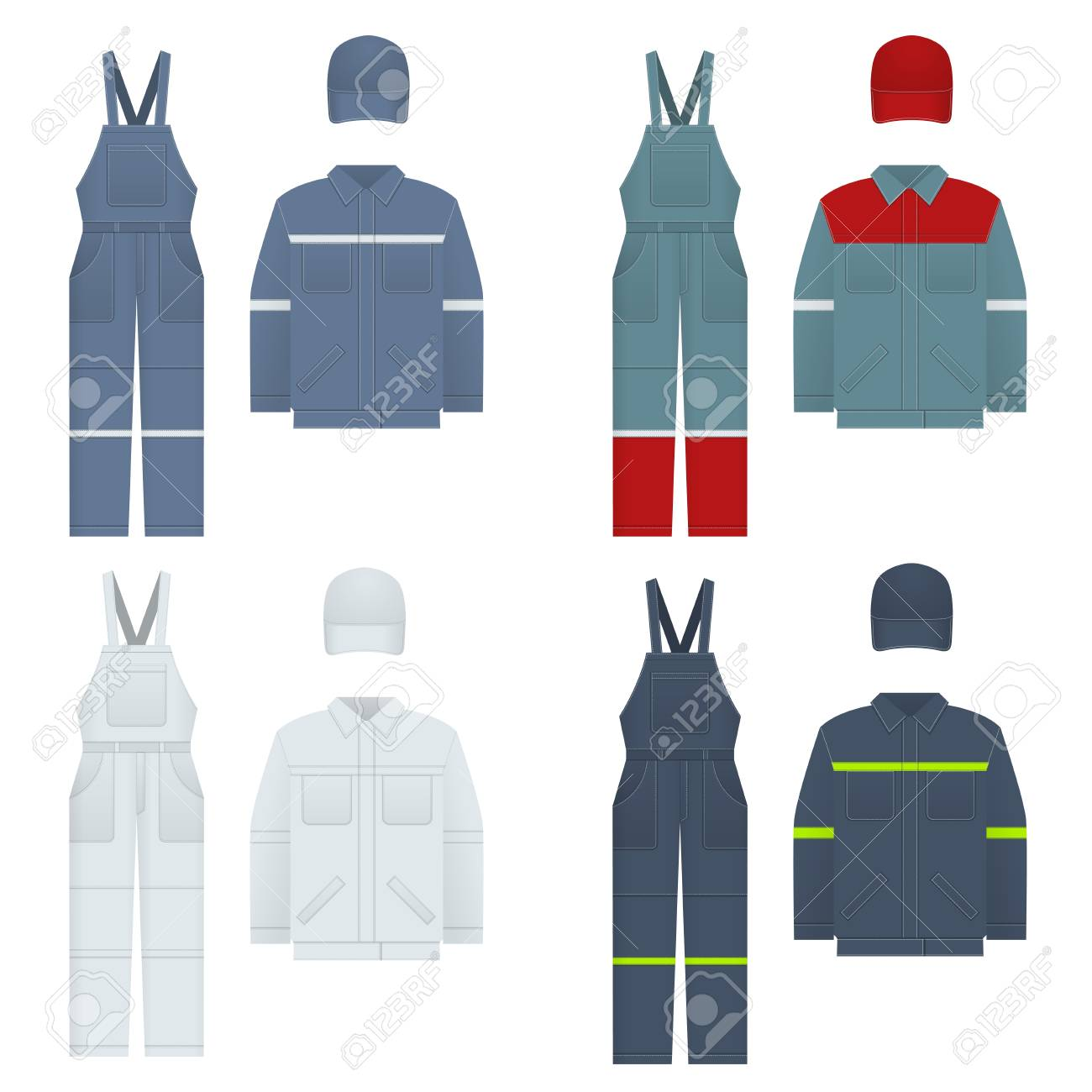 ec9c6dd92231 Vector Illustration Of Men s Overalls. Clothes In Denim Style ...
