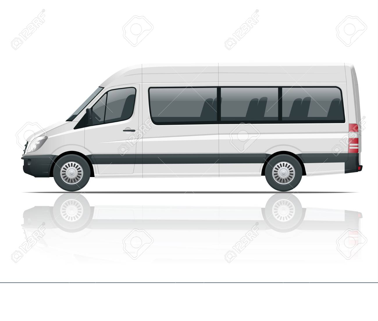 6d8975ebb6 Realistic White Van template Isolated passenger mini bus for corporate  identity and advertising. View from