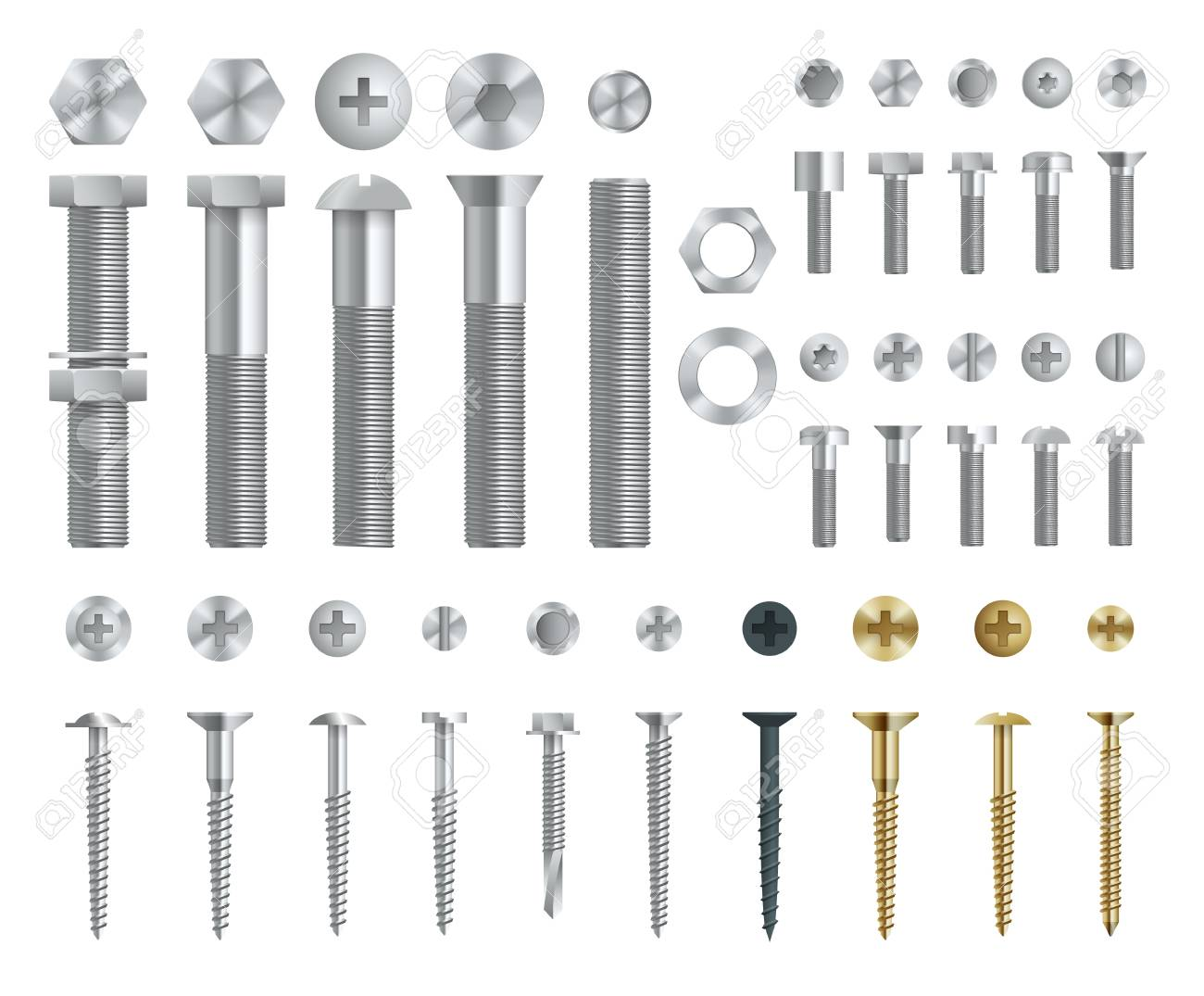 Set of Steel Screws, Bolts, Nuts and Rivets. Top and Side View. Isolated Vector Elements. - 94974033