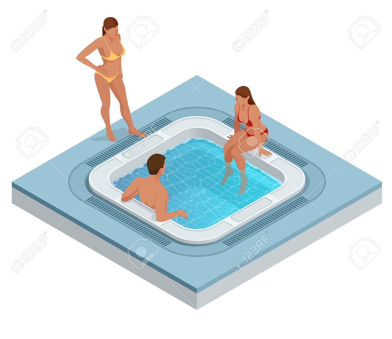 Isometric Jacuzzi With Swirling Water Isolated On White. People ...