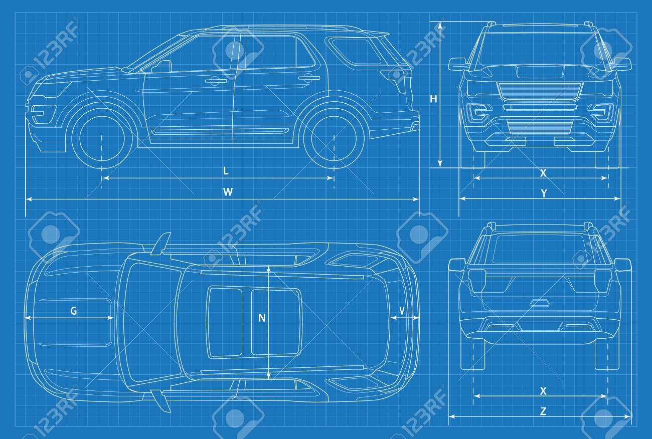 Off road car schematic or suv car blueprint vector illustration off road car schematic or suv car blueprint vector illustration off road vehicle in malvernweather Choice Image