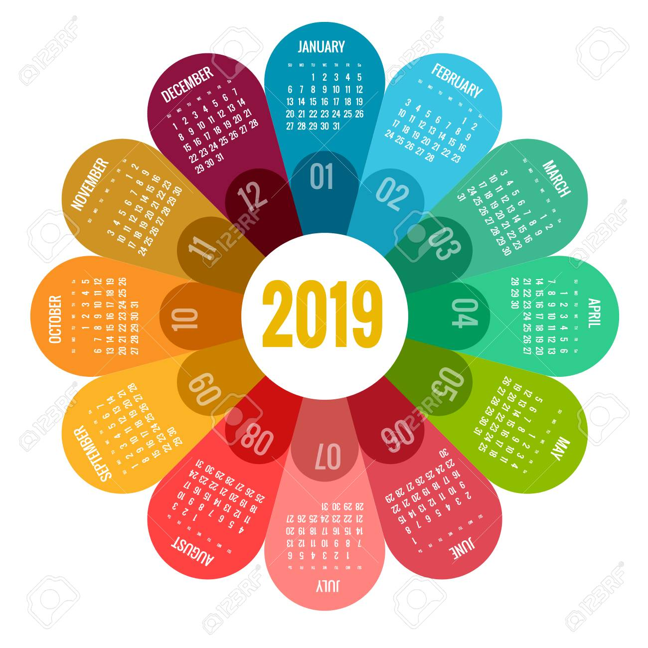 Template For Calendar 2019 Colorful Round Calendar 2019 Design, Print Template, Your Logo