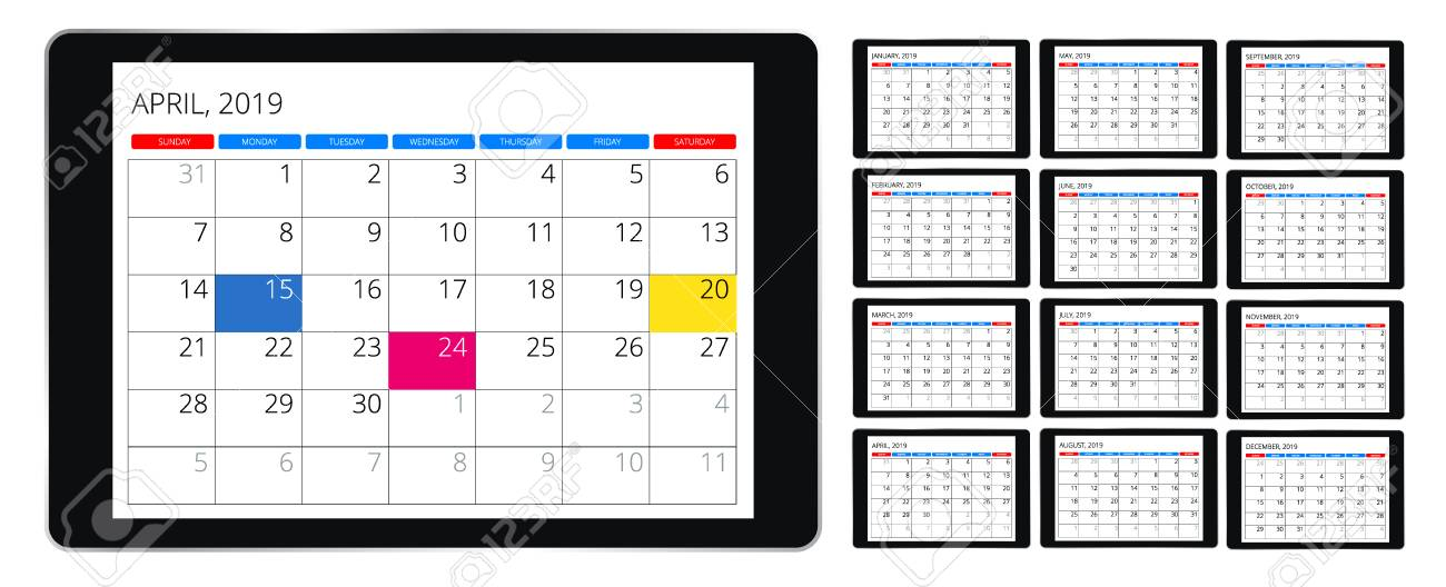 Calendar Pages To Print 2019.Vector Calendar For 2019 Year Vector Design Print Template