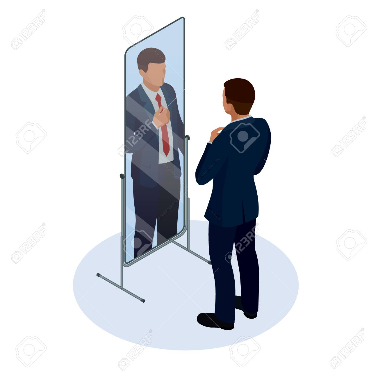 Isometric businessman adjusting tie in front of the mirror. Man checking his appearance in the mirror. Businessman looking himself in the mirror vector flat design illustration. - 100939217