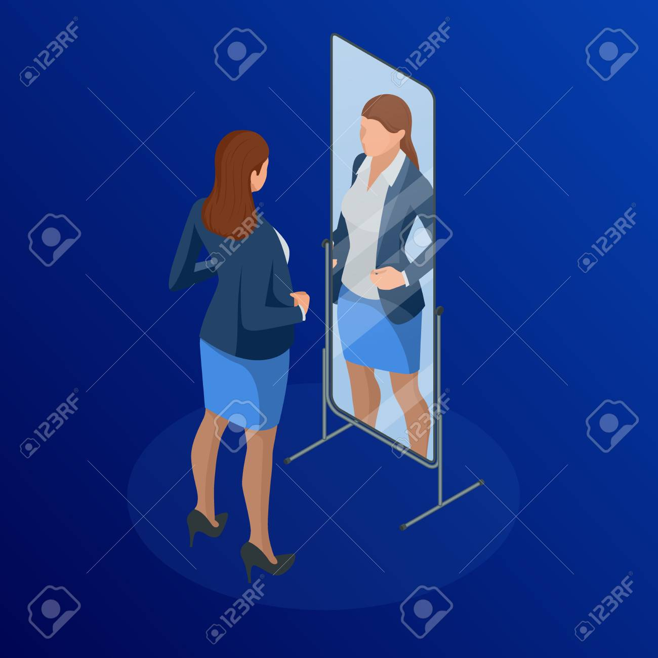 Isometric business woman adjusting tie in front of the mirror. Man checking his appearance in the mirror. Businessman looking himself in the mirror vector flat design illustration - 100939220