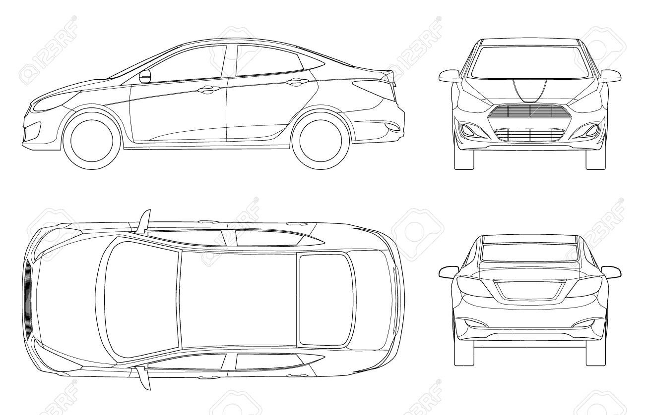 Set Of Sedan Cars In Outline Compact Hybrid Vehicle Eco Friendly Royalty Free Cliparts Vectors And Stock Illustration Image 102167702