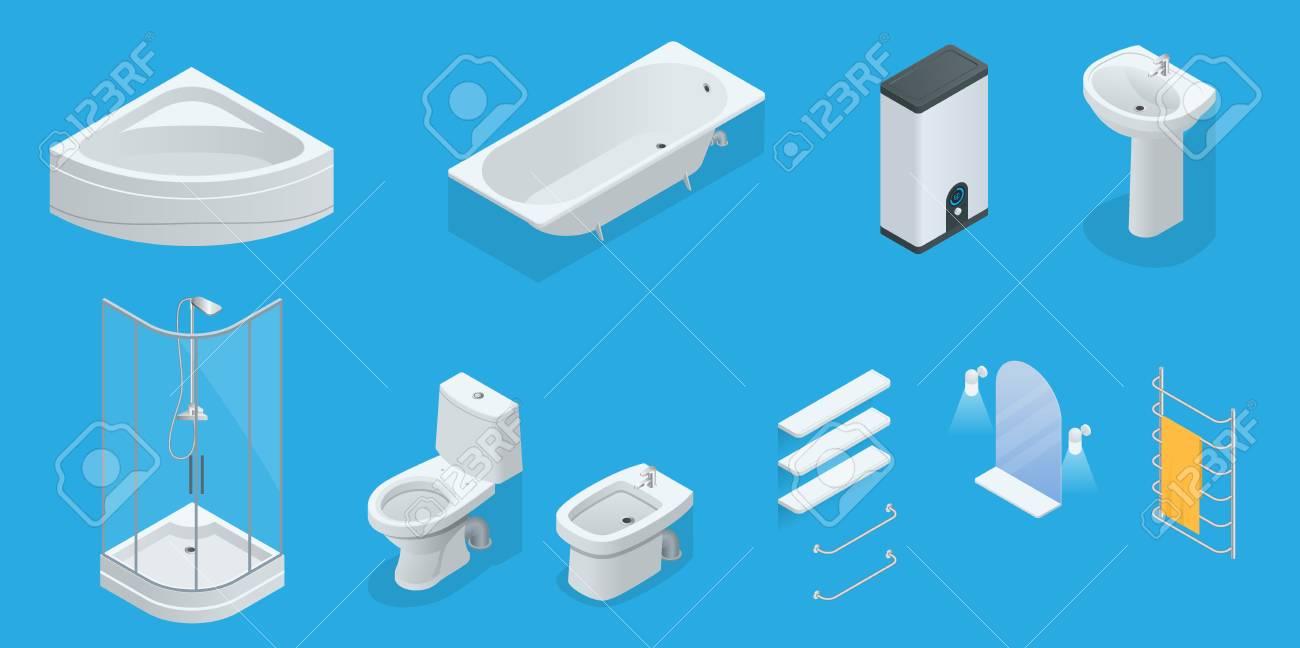 Vector Isometric Set Of Bathroom Furniture. Jacuzzi, Bath, Boiler ...