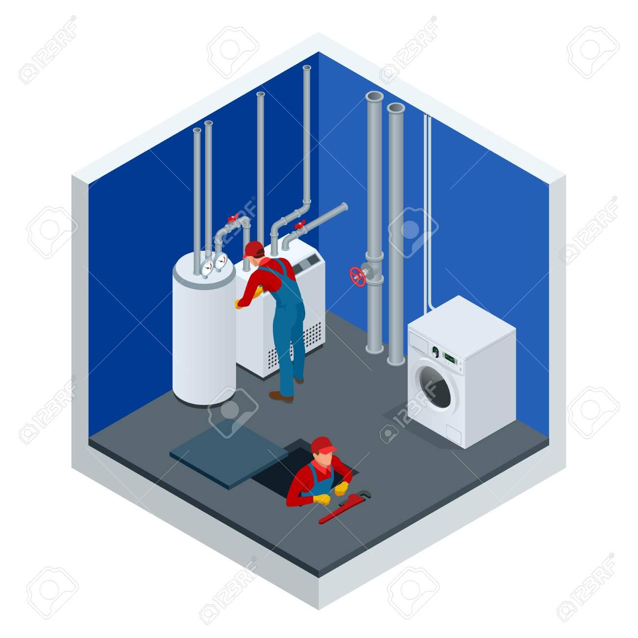 Isometric Condensing Boiler Gas In The Boiler Room. Worker Set ...
