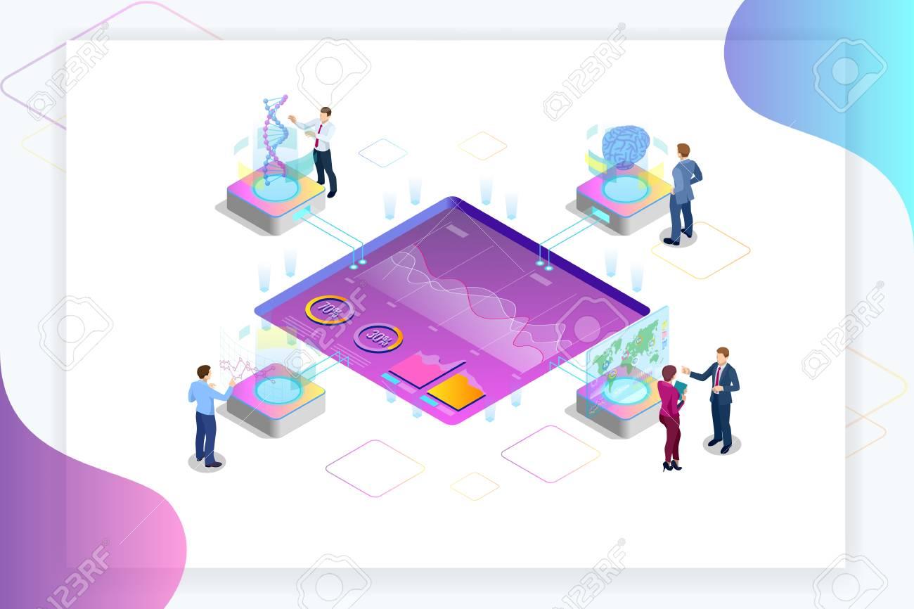 Isometric Big Data Network visualization, advanced analytics, interacting Data analysis, research, audit, demographics, Artificial Intelligence, planning, statistics, digital DNA structure, management - 105837504
