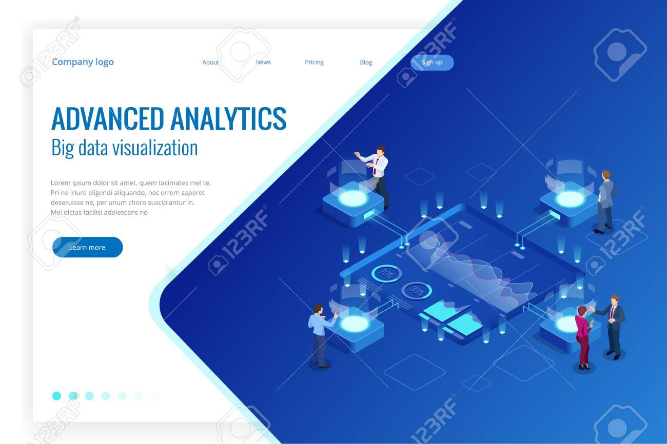 Isometric Big Data Network visualization, advanced analytics, interacting Data analysis, research, audit, demographics, Artificial Intelligence, planning, statistics, digital DNA structure, management - 105839516