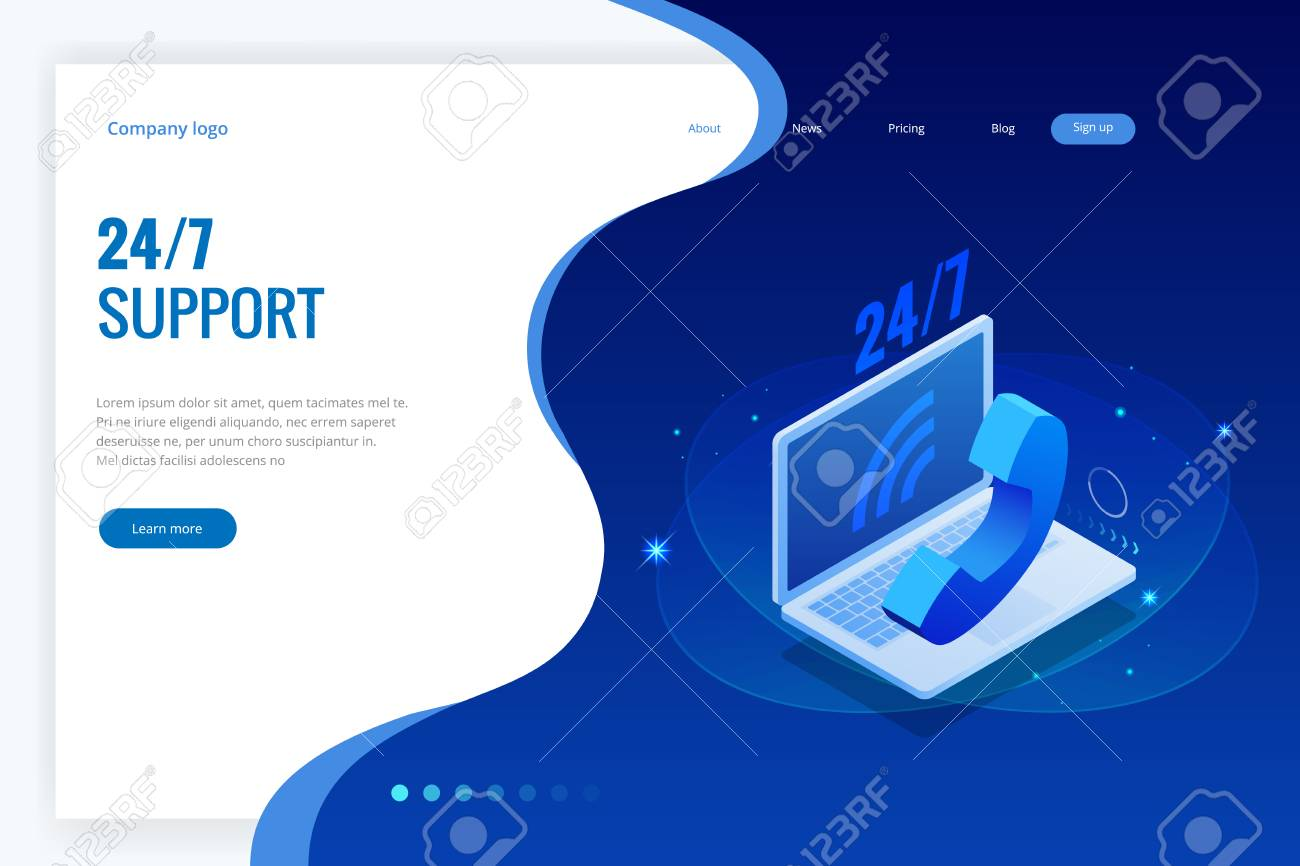 Web page design templates for call center support 24-7. Isometric 24 hours open customer service. Vector illustration Customer Service, Support or CRM. - 106408011