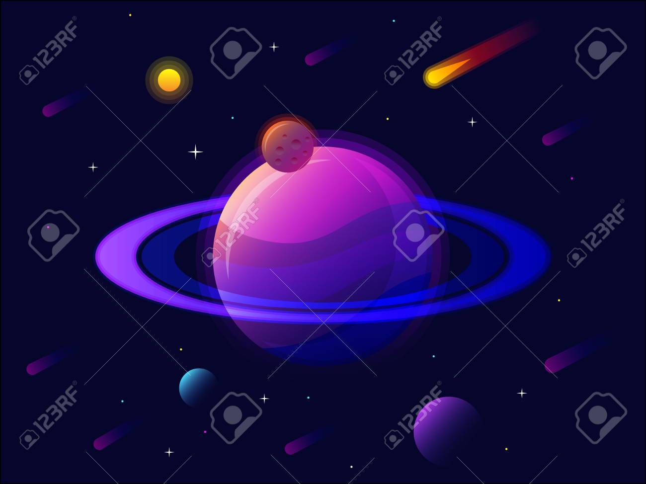 Saturn Planet Solar System With Stars Futuristic Space Background Abstract Universe Big Ultraviolet